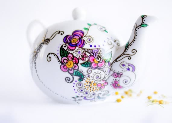 Teapot  Floral Tea Party in Spring Garden - painted ceramics