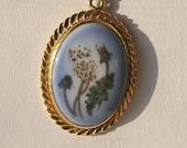 Vintage Pendant/Necklace B & G Porcelain Flower 12K GF Chain Victorian revival Garden Rare SALE