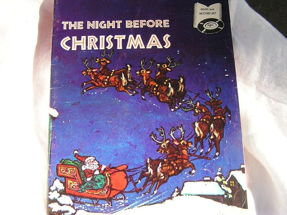 SALE Vtg Night Before Christmas Book and 45 Record 1970