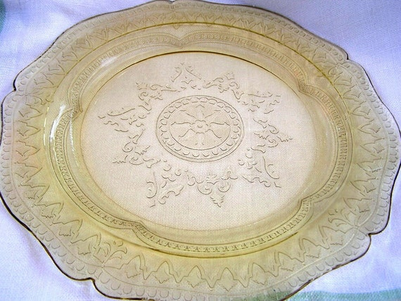 VTG Patrician Spoke Platter 11 inch Amber 1930s Federal Glass