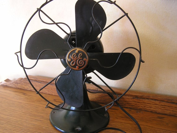 ReSERVED for OWSUPPLY//////////Ge 1937 Non-Oscillating FAN GReeN ART DEC0 4 Blade Works