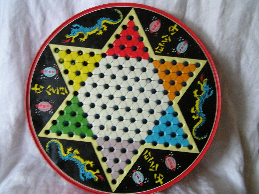 Vintage Chinese Checkers Checkers With Marbles Game