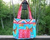 Turquoise and Butterfly Tote or Purse