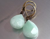 Amazonite Gemstone Earrings with Antique Brass Handmade