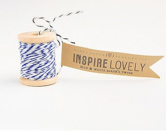 10 yards Blue and White Bakers Twine hand wound on a cute mini wooden spool