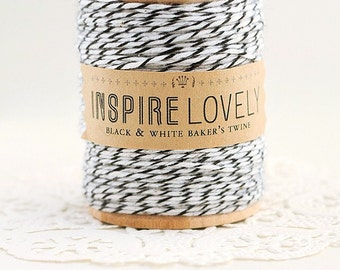 SALE - 50 yards Black and White Bakers Twine hand wound on a wooden spool