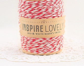 50 yards Red and White Bakers Twine hand wound on a wooden spool