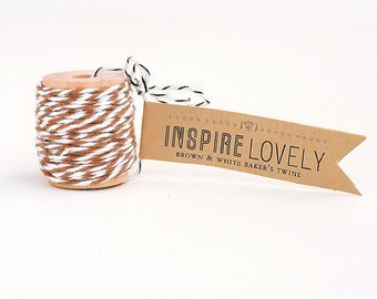 10 yards Brown and White Bakers Twine hand wound on a cute mini wooden spool