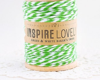 100 yards Green and White Bakers Twine