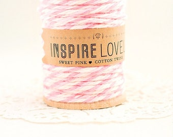 10 yards Sweet Pink and white Cotton Twine hand wound on a wooden spool