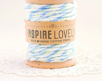20 yards Blue Green and white Cotton Twine