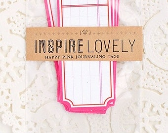 8 Happy Pink Journaling die cut tags