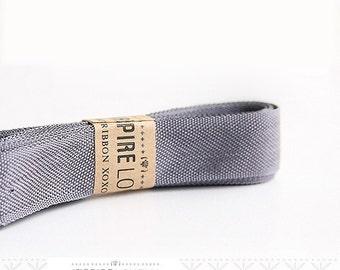 Vintage inspired Seam Binding ribbon xoxo- Grey