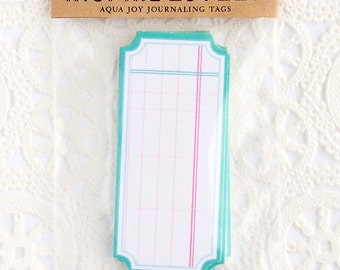 8 Aqua Joy Journaling die cut tags