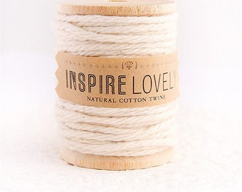 10 yards Natural cotton twine hand wound on a wooden spool