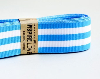 25 yards Baby Blue and White Striped Grosgrain Ribbon xoxo
