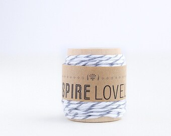10 yards Grey and White Bakers Twine hand wound on a cute mini wooden spool