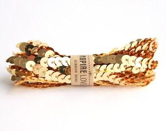 Sequin Trim xoxo - Gold Shimmer