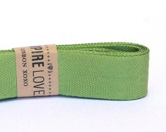 Vintage inspired Seam Binding ribbon xoxo- Vintage Moss