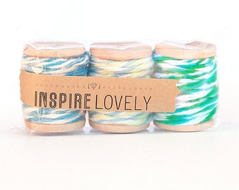 9 yards Blue Dreams Medley Cotton Twine Mix hand wound on mini wooden spools