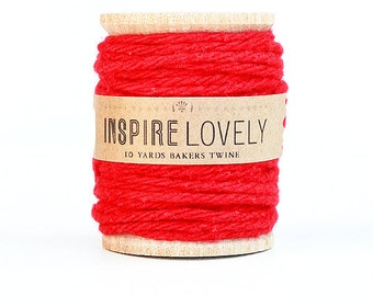 10 yards Ruby Red Cotton Twine hand wound on a wooden spool