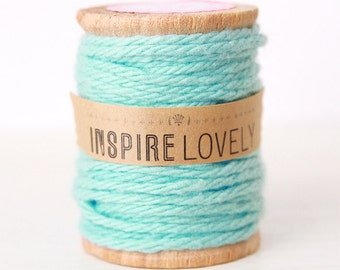 10 yards Sparrow Blue Cotton Twine hand wound on a wooden spool