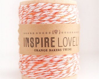 50 yards Orange and White Bakers Twine hand wound on a wooden spool