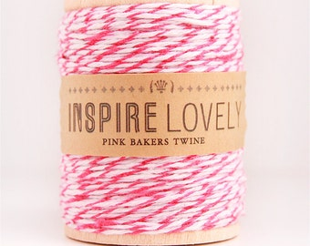 SALE - 50 yards Pink and White Bakers Twine hand wound on a wooden spool
