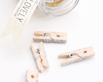 25 Lovely Glittery Mini Wooden Clothespins & Glass Jar - Silver