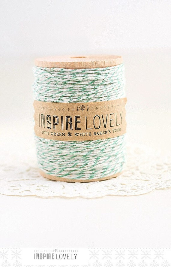 SALE - 35 yards Soft Green and White Bakers Twine hand wound on a wooden spool