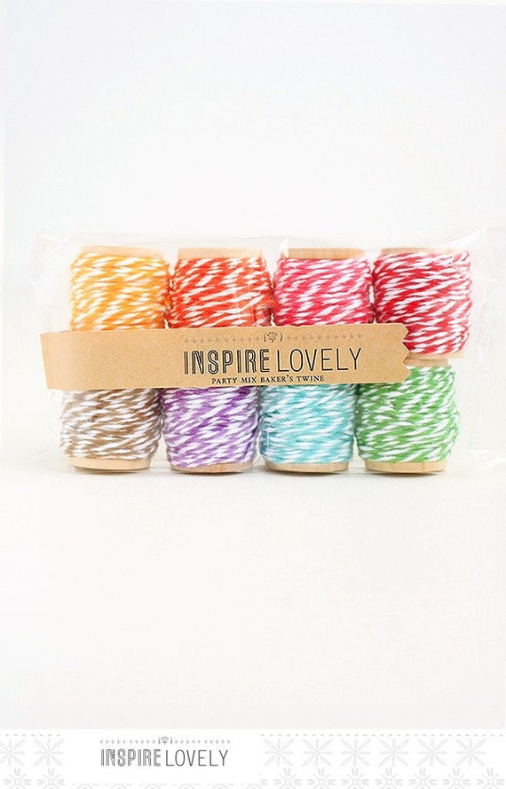 80 yards Party Mix Bakers Twine hand wound on mini wooden spools