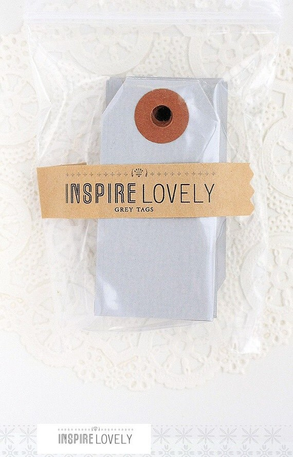 As seen in Country Living - 20 Mini Gift Tags -  Grey Blank Tags