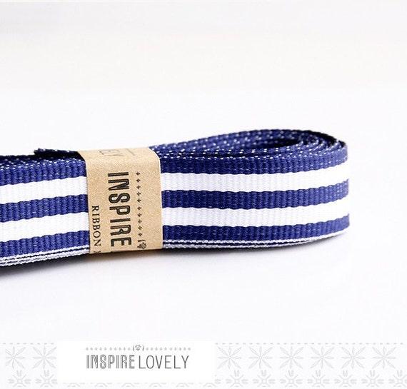 Navy Blue and White Striped Grosgrain Ribbon xoxo