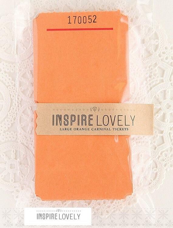 SALE- 20 Large Orange Blank Carnival Tickets