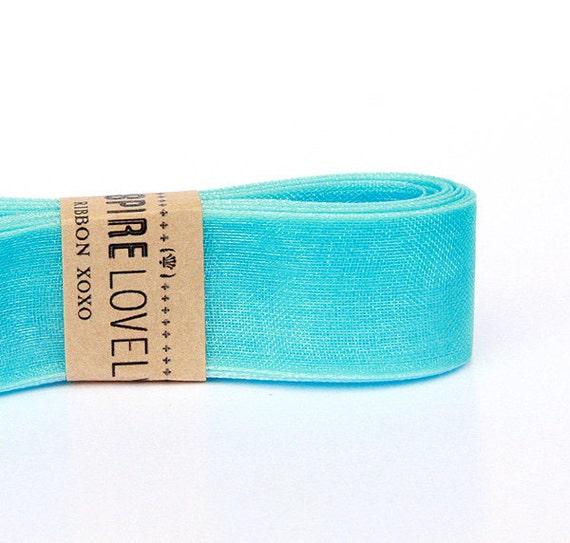 Sheer  Aqua Blue Ribbon xoxo