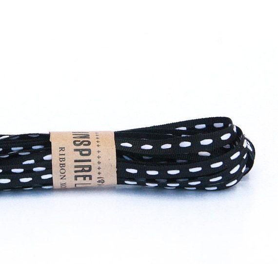 Dainty Black Ribbon with White stripes xoxo