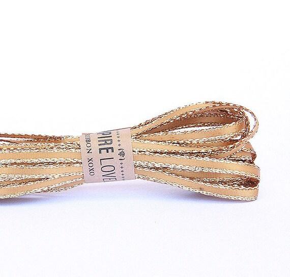 Dainty Gold & Gold trim Ribbon xoxo