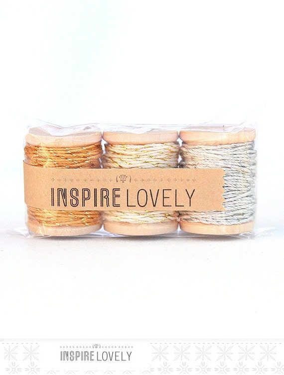 YOU PICK 10 yards Shimmery Bakers Twine hand wound on a mini wooden spool