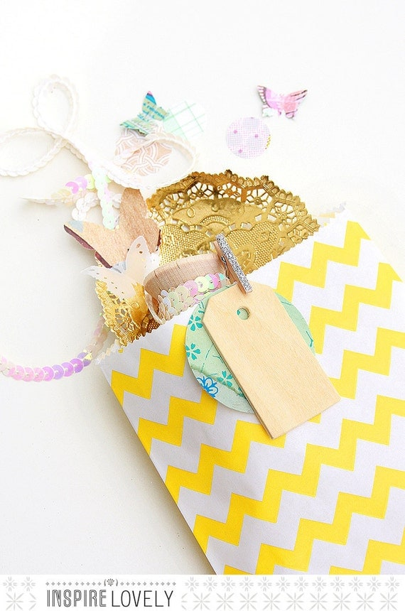 20 Sweet Large Chevron Bags- Yellow