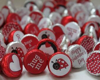 INSTANT DOWNLOAD Ladybug Love Bug Printable Valentine Party Favor Kisses Labels PDF File