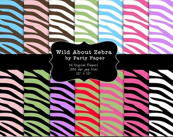 INSTANT DOWNLOAD Zebra Print Digital Paper Background Pack for scrapbooking, cards, invitations
