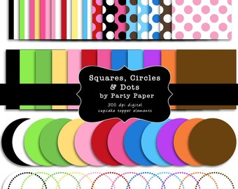 INSTANT DOWNLOAD Make Your Own Cupcake Toppers Digital Circle and Square Clip Art Nesting Scrapbook Elements