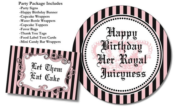 Ever after high party decorations printables party for Happy birthday crown template