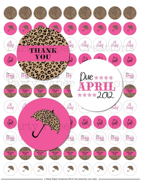 items similar to leopard print baby shower kisses sticker label