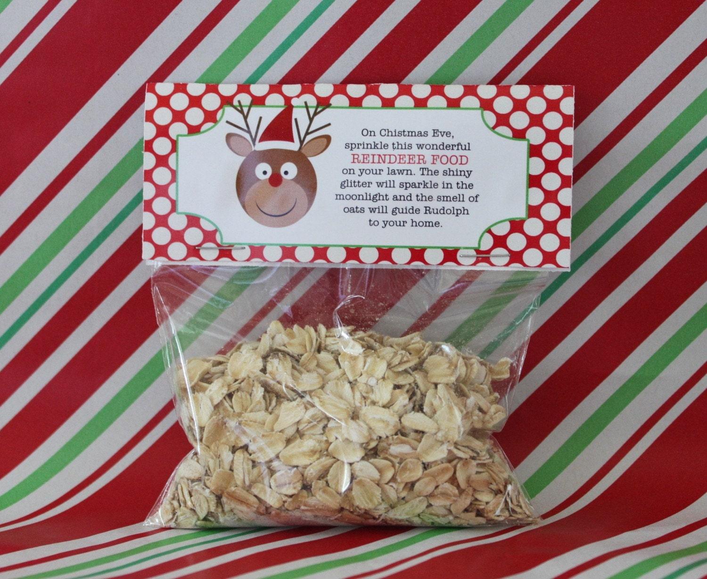 Printable DIY Reindeer Food Holiday Party Favor Tag Topper