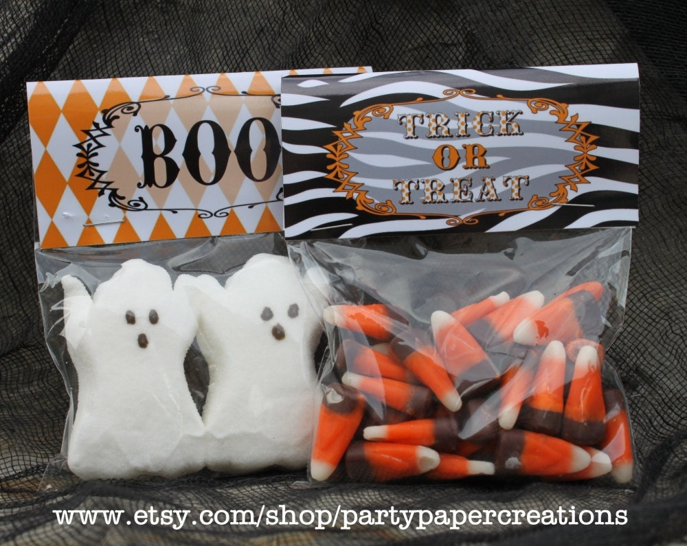 Halloween Party Favor Treat Bag Toppers by partypapercreations