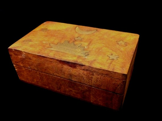 Hand Carved Wooden Box with Metal Inlay
