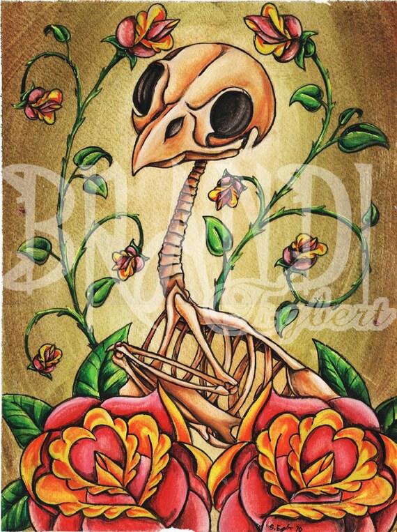 "Bird Skeleton with Roses- Print 9""x12"""