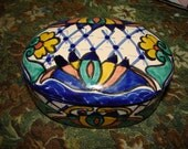 Pottery Mexico Alba Lid Canister Flowered Fantastic Vintage Mint Condition