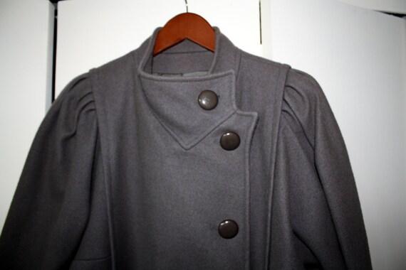 VINTAGE WOOL COAT gray grey jacket puffy sleeves L